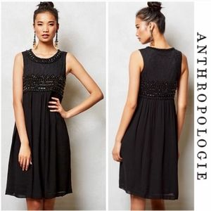 🆕Anthropologie Beaded Charon Black Dress 12
